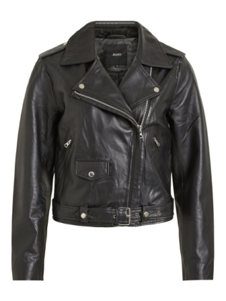 OBJECT COLLECTORS ITEM Biker Look Leather Jacket Women Black