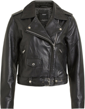 OBJECT COLLECTORS ITEM Biker Look Leather Jacket Women Black