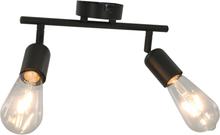 vidaXL Spotlight med 2 lampor och glödlampor 2 W svart E27