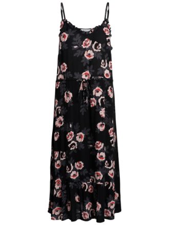 PIECES Long Flowered Summer Dress Women Black