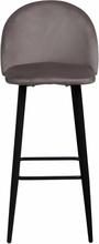 Alice - Grå velour barstol 65 cm (Barstol til køkken)