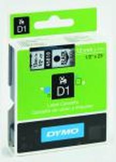 Dymo D1 tape 12mm x 7 mtr., sort/klar