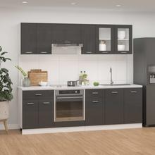 vidaXL Kjøkkenskapsett 8 deler høyglans grå sponplate