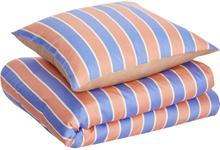 Hübsch sengetøj bomuldssatin - beige/blå/fersken/hvid - 140x200 cm