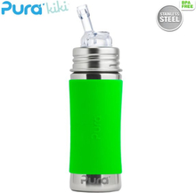 Pura Kiki Trinkflasche 325ml - Strohhalm Aufsatz (inkl. Schutzkappe) - Blank + Grüner Überzug