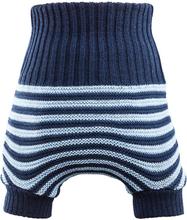 Reiff - doppeltgestrickte Wollüberhose - Blau & Hellblau (gestreift) - Größe 5 (98/104)