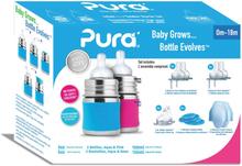 Pura Kiki Trinkflasche - Geschenkset - 2x 150ml Flaschen (inkl. 5x Zubehör) - Blau & Pink