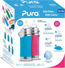 Pura Kiki Trinkflasche - Geschenkset - 2x 325ml Flaschen (inkl. 5x Zubehör) - Blau & Pink