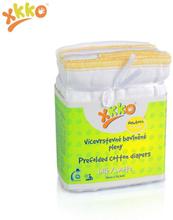 XKKO - Prefolds (100% Baumwolle) - (6 Stück) - versch. Größen - Weiß Newborn (gelber Saum) - 29x30,5 cm (2-5 kg)