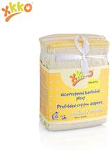 XKKO - Prefolds - 100% Baumwolle - 6 Stück - versch. Größen - Natur Newborn (gelber Saum) - 29x30,5 cm (2-5 kg)