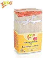 XKKO - Prefolds - 100% Baumwolle - 6 Stück - versch. Größen - Natur Medium (roter Saum) - 35,5x40,5 cm (5-11 kg)