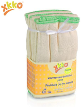 XKKO - Prefolds (100% Baumwolle) - (6 Stück) - versch. Größen - Natur Large (grüner Saum) - 38x46 cm (7-14 kg)