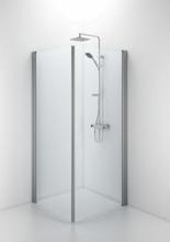 Ifö Space rett dør m/håndtaksprofil 60 cm, Klart glass/Alu profil - Kun 1 dør