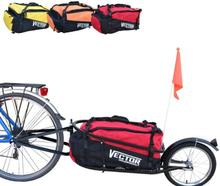 Enkelhjulet Cykeltrailer med rød taske