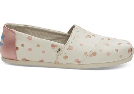 TOMS Schuhe Pale Blush Metallic Dots Classics Für Damen - Größe 36.5