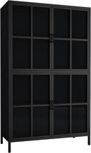 Marton skænk/vitrineskab i stål med 4 glaslåger - sort