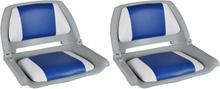 vidaXL Båtstolar 2 st hopfällbara med blå-vit kudde 41x51x48 cm