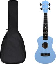 """Sopran-ukulele sett med veske 23"""" - babyblå"""