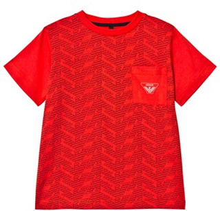 Emporio Armani Red Eagle Branded Front Pocket Tee 10 years