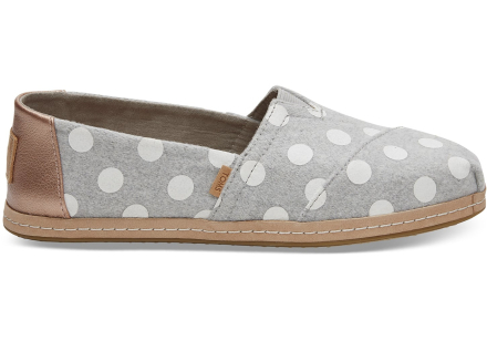 TOMS Schuhe Grau Weiß Dots Filz Classics Für Damen - Größe 35.5
