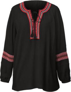 Bluse i kreppet materiale med broderier Angel of Style Svart