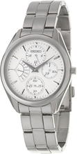 Seiko Unisex Weiß Zifferblatt Edelstahl Armband Tag Datum Uhr SRL045P1