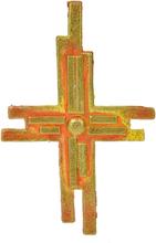 Vaxdekorationer - GulRött kors (110x63 mm)