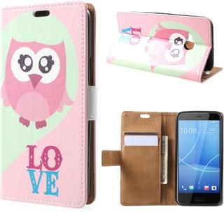 HTC U11 Life Etui laget av kunstlær og silikon - Ugle og LOVE