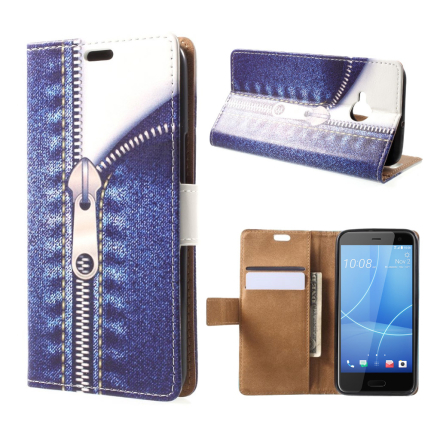 HTC U11 Life Etui laget av kunstlær og silikon - Jeans glidelås