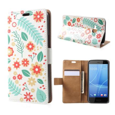 HTC U11 Life Etui laget av kunstlær og silikon - Blomster og blader