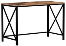 Skrivebord med metalramme, træfarvet spånplade