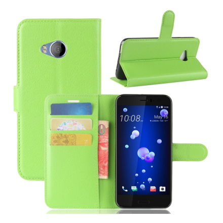 HTC U11 Life Etui laget av kunstlær og silikon - Grønt