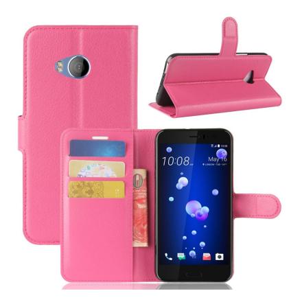 HTC U11 Life Etui laget av kunstlær og silikon - Rosa