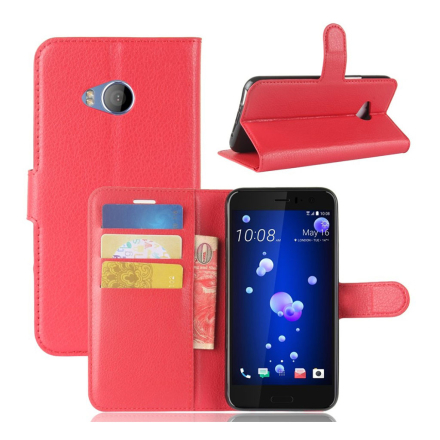 HTC U11 Life Etui laget av kunstlær og silikon - Rødt