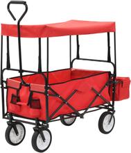 vidaXL Hopfällbar handvagn med tak stål röd