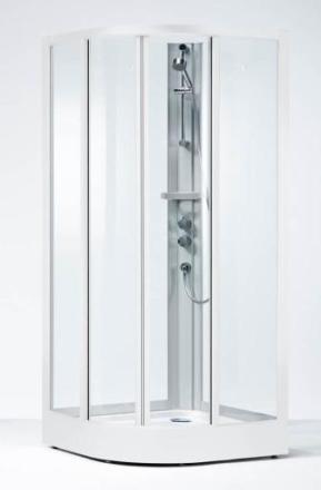 Ifö Solid SKR dusjkabinett 900x900 mm, Klart Glass / Hvite Profiler