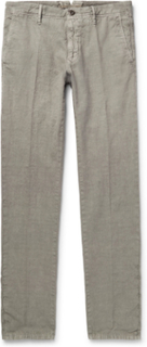 Slim-fit Linen And Cotton-blend Trousers - Gray green