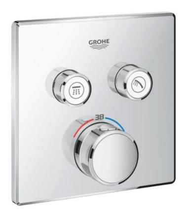 GROHE Grohtherm SmartControl Dusjbatteri m/Termostat, 2 uttak, Krom