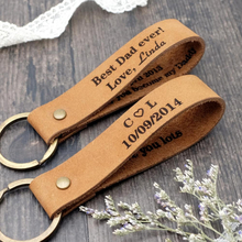 Personalized Leather Keychain, Custom Leather Keyring, Personalized Couple Gifts, Custom Key Chain, Mens Gift, Dad Gift