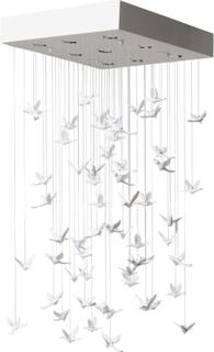 KARE DESIGN Flying Birds loftslampe - hvid plastik/glas og stål (65x65)