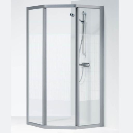Ifö Solid dusjhjørne SVP 90x70x195 cm, Screentrykt Glass / Alu Profil