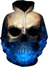 3D Skull Print Pocket Hoodie