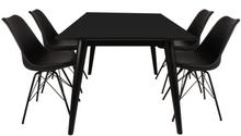 Essgruppe | Esstisch Schwarz mit 4 Stühlen Schwarz - Nora