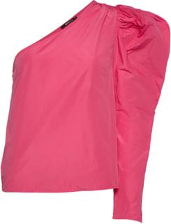 Taffeta Shoulder Top Bluse Langermet Rosa Gina Tricot