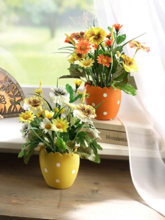 2 blomster i potte gul/oransje