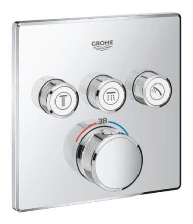 GROHE Grohtherm SmartControl Dusjbatteri m/Termostat, 3 uttak, Krom