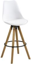 Barhocker mit Lehne Weiß 75 cm (Großer Sitz) - Shell