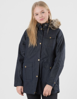 Barbour, BARBOUR ASHBRIDGE WAX JACKET, Blå, Jakker/Fleece för Jente, M