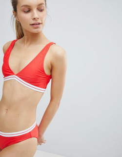 Brave Soul Plunge High Apex Bikini Set With Ribbed Banding - Red