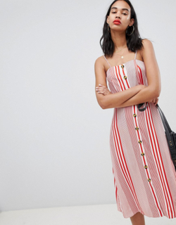 Boohoo Linen Mix Button Through Stripe Midi Dress - Red